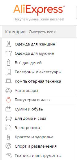 категории товара